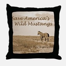 Stallion 3-Sepia Save the Mustangs be Throw Pillow