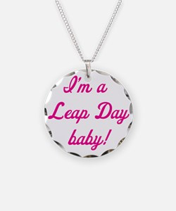 leap day baby pink Necklace Circle Charm
