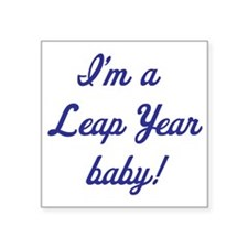 """leap year baby blue Square Sticker 3"""" x 3"""""""