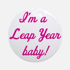 leap year baby pink Round Ornament