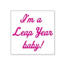 """leap year baby pink Square Sticker 3"""" x 3"""""""