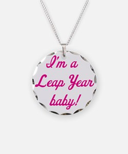 leap year baby pink Necklace Circle Charm