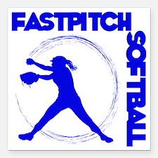 "blue, Fastpitch trio Square Car Magnet 3"" x 3"""