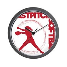 red, Fastpitch trio Wall Clock