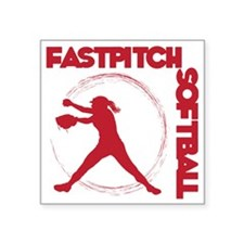 "red, Fastpitch trio Square Sticker 3"" x 3"""