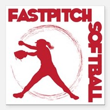 """red, Fastpitch trio Square Car Magnet 3"""" x 3"""""""