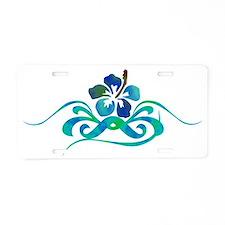 hibiscus 10x4_bl turq Aluminum License Plate
