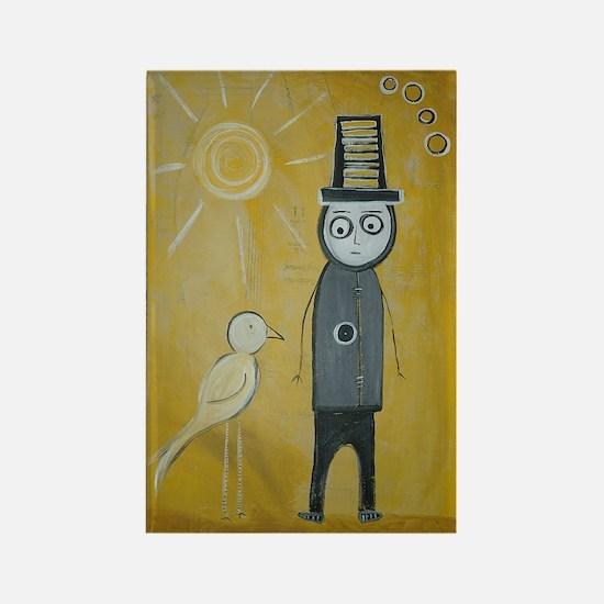 Yellow Bird Man Rectangle Magnet
