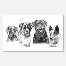 4 Dogs Rectangle Decal