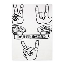 Peace Love Death Metal Black 5'x7'Area Rug
