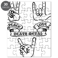 Peace Love Death Metal Black Puzzle