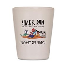 Shark Run Black Text Shot Glass