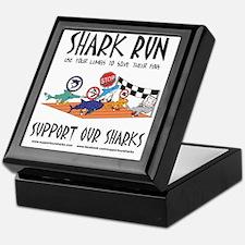 Shark Run Black Text Keepsake Box