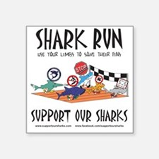 "Shark Run Black Text Square Sticker 3"" x 3"""