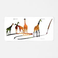 Giraffes 04 paintbrush rose Aluminum License Plate