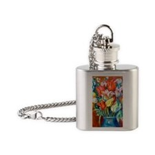 441 Renoir Tulips Flask Necklace