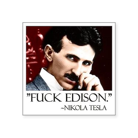 "Tesla Square Sticker 3"" x 3"""