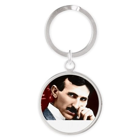 Tesla_white Round Keychain