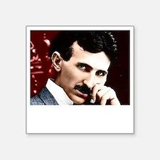 "Tesla_white Square Sticker 3"" x 3"""