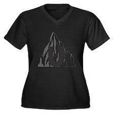 URock Women's Plus Size Dark V-Neck T-Shirt