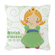 irish princess for the day Woven Throw Pillow