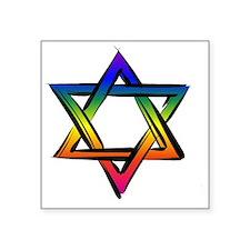 """LGBT Star Of David Square Sticker 3"""" x 3"""""""