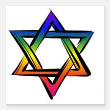 "LGBT Star Of David Square Car Magnet 3"" x 3"""
