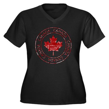 vintageCanad Women's Plus Size Dark V-Neck T-Shirt