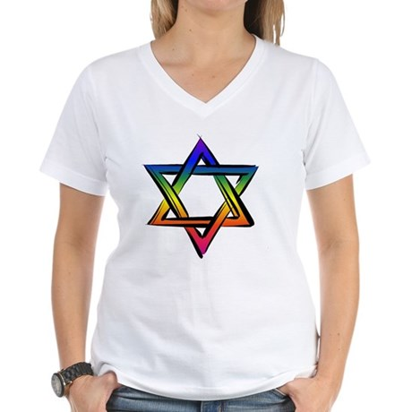 Star Of David 2 Women's V-Neck T-Shirt