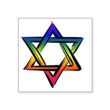 "Star Of David 2 Square Sticker 3"" x 3"""