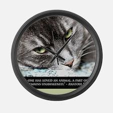 cat_soul_awakening_sq Large Wall Clock