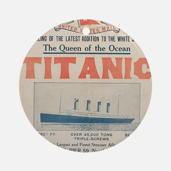 Titanic Ad Card BIG Round Ornament