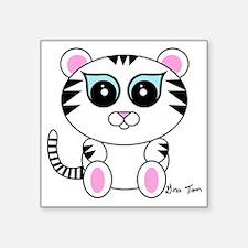 """White Tiger Square Sticker 3"""" x 3"""""""
