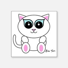 "White Kitty Square Sticker 3"" x 3"""
