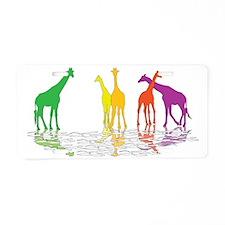 Giraffes 04 reflection Aluminum License Plate