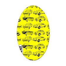 OldCarsYLW Oval Car Magnet