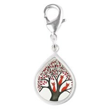 Red ones squared Silver Teardrop Charm