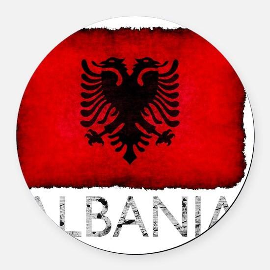 GrungeAlbania3Bk Round Car Magnet
