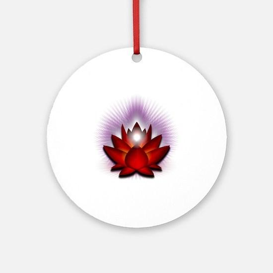 Chakra Lotus - Red Round Ornament