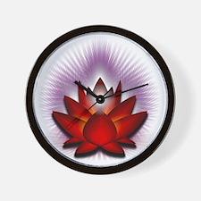 Chakra Lotus - Red Wall Clock