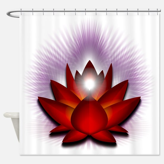 Chakra Lotus - Red Shower Curtain