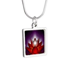 Chakra Lotus - Root Red -  Silver Square Necklace