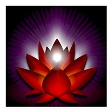 "Chakra Lotus - Root Red  Square Car Magnet 3"" x 3"""