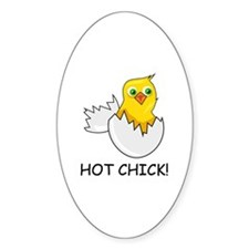 HOT CHICK! Oval Decal