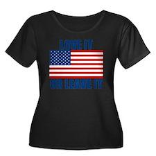 LOVEIT Women's Plus Size Dark Scoop Neck T-Shirt