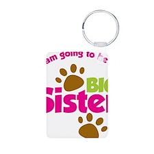 DogsPawPrintBigSisterToBe Keychains