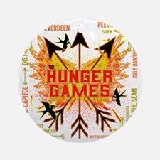 hunger games gear with 3 black arro Round Ornament