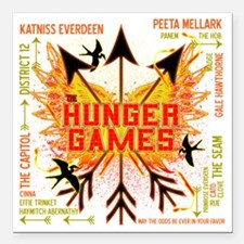 """hunger games gear with 3 Square Car Magnet 3"""" x 3"""""""