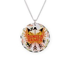 hunger games gear with 3 bla Necklace Circle Charm