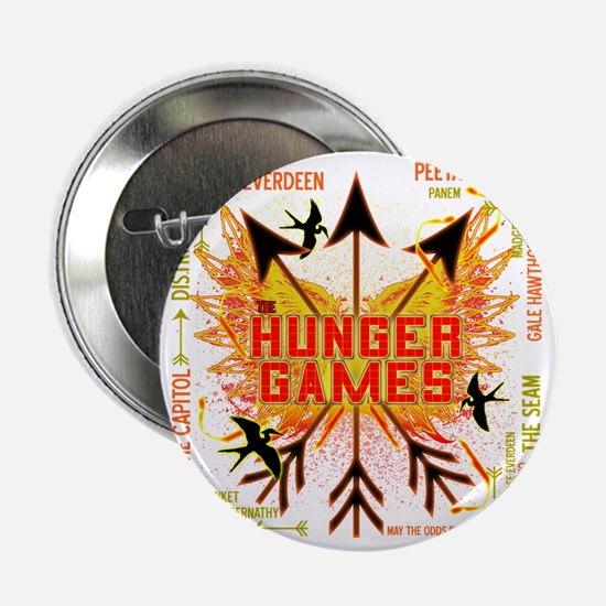 """hunger games gear with 3 black arrows 2.25"""" Button"""